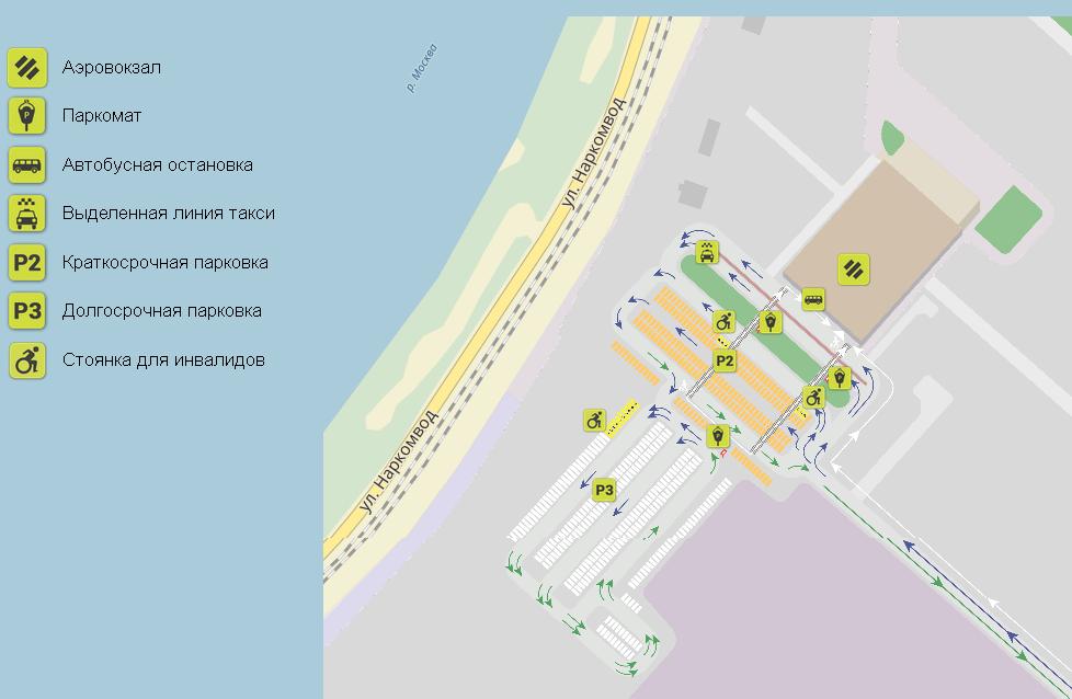 Схема двух платных парковок аэропорт Жуковский